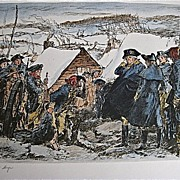 1932 Colored Etching of George Washington at Valley Forge-signed