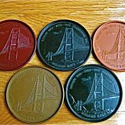 Set of 5 Coasters-1939-World's Fair San Francisco Golden Gate