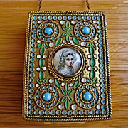 Jeweled Enamel Gilded Wrist Carry Compact-French
