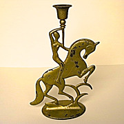 Art Deco Cast Iron Nude on Horse Candlestick