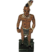 Cast Iron Painted Mohawk Indian Doorstop/Bookend