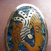 Metales Casados - Sterling, Copper, Turquoise Pin and Pendant