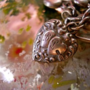 """Vintage Sterling Silver Hearts and Arrow Puffy Heart """"B&L"""" Charm"""