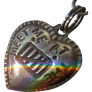 Vintage Rebus  Sterling Silver Puffy Heart Charm Meet Me At The Gate