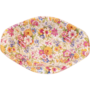 REDUCED Vintage 1930's Lord Nelson Chintz Nut Dish Marigold Pattern