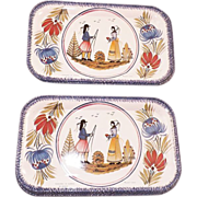 REDUCED Vintage Set Of 12 Quimper Tin Trays France
