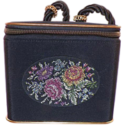 REDUCED Vintage Black Box Purse with Petit Point Embroidery Germany