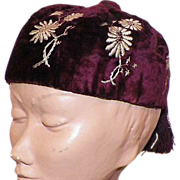 REDUCED Victorian Burgundy Panne Velvet Embroidered Smoking Hat