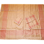 REDUCED Czech Never Used Pink and White Linen Damask Tablecloth Napkins