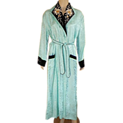 REDUCED Vintage Japanese Robe Aqua Rayon Damask With Embroidered Black Velvet Collar