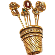 REDUCED Unsigned Goldette Thimble and Stickpin Flower Basket Brooch