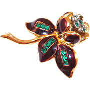 REDUCED Vintage 1930's Coro Fur Clip Trembler Brown Enamel and Rhinestone
