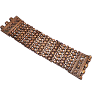 SALE PENDING Vintage Heavy Wide Tribal Ethnic Silver and Brass Bracelet