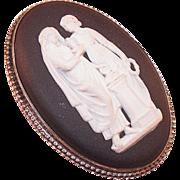 REDUCED Vintage Wedgwood Black Jasperware Grecian Figures Pin/Brooch In Original Box
