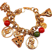 REDUCED Vintage Gold Tone Coro Charm Bracelet With Minerva and FOBS