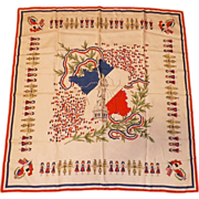 REDUCED Vintage Scarf With World War II France Motif