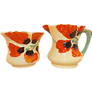 REDUCED Art Deco Burleigh Ware Creamer and Sugar Black Orange Flowers