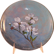 REDUCED Mid-Century Nekrassoff Enamel On Copper Bowl Dogwood Flowers