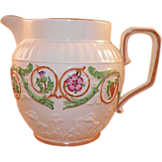 REDUCED Wedgwood Pearlware Pitcher With Pink Green Garland
