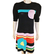 REDUCED Vintage 1980's Black Wool Knit Dress With Bright Geometric Pattern