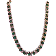 REDUCED Vintage D'ORLAN Green and Clear Rhinestone Necklace