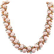 Trifari Faux Pearl and Turquoise Necklace