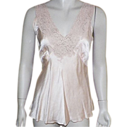 Vintage 1930's Miss Swank Peach Silk Camisole With Lace