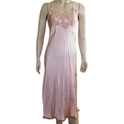 SALE PENDING Vintage 1930's Peach Silk Full Slip With Beige Lace Size 36
