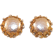 Miriam Haskell Large Faux Baroque Pearl Clip Earrings