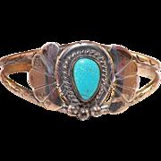 Vintage Native American Silver & Turquoise Bracelet Artist Signed