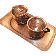 REDUCED Vintage Hand Wrought Pewter Creamer and Sugar With Tray Holland