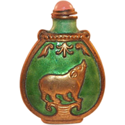 REDUCED Vintage Chinese Green Enamel Snuff Bottle With Rose Quartz Top