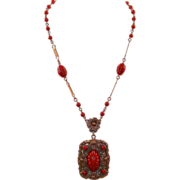 Vintage Art Deco Czech Red Glass and Brass Pendant Necklace