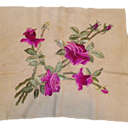 REDUCED Vintage Society Silk Embroidered Roses Textile