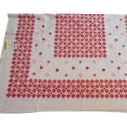 REDUCED Vintage 1950's Screen Printed Rayon and Cotton Tablecloth By ML Cloths Never Used
