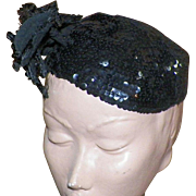 Vintage 1930's Black Sequined Cocktail Hat Skull Cap With Flowers