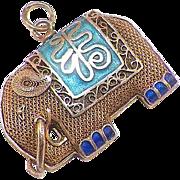 Vintage Chinese Gilt Silver Enamel Elephant Pendant