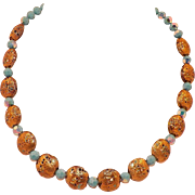 Vintage Italian Gold Glass Necklace With Aqua Aurora Borealis Beads