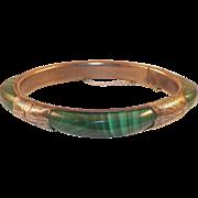 Vintage Malachite Silver Hinged Bangle Bracelet