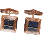 REDUCED Sterling Lapis Onyx Mother Of Pearl Cufflinks Artist Signed