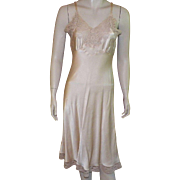 REDUCED 1940's Fischer Heavenly Silk Beige Full Slip