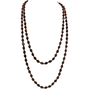 1920's Flapper Length Faceted French Jet Beaded Necklace