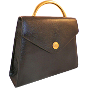 Albert Nippon Black Embossed Leather Purse With Brass Handle