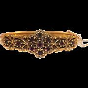 Vintage Rolled Gold Bohemian Garnet Hinged Bangle Bracelet