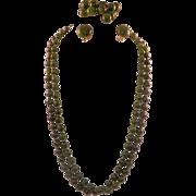 REDUCED Vintage Green Bakelite Parure Necklace Bracelet Earrings