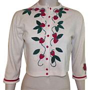 REDUCED Vintage 1950's Pat Baldwin Cashmere Sweater With Applique Strawberries