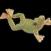 REDUCED Charming DeNicola Frog Pin Green Stones