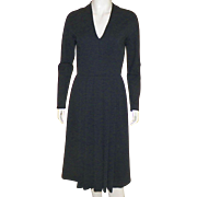 Vintage Pauline Trigere 1980's Classic Black Wool Dress
