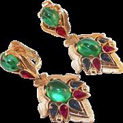 REDUCED Trifari Moghul Jewels Of India Earrings Alfred Philippe