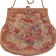 REDUCED Vintage Flowers and Cherubs Tapestry Purse With Enamel and Faux Pearl Frame
